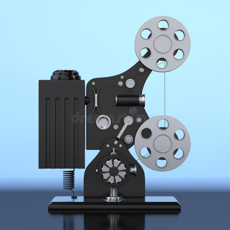 Proyector retro del cine de la película de cine representación 3d stock de ilustración