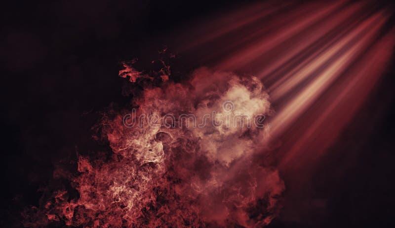 Proyector rojo abstracto con las capas de la textura del humo del misterio Elemento del diseño foto de archivo