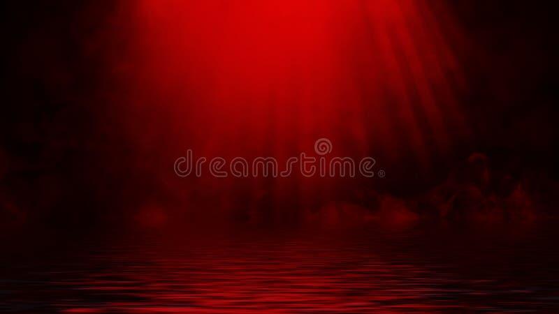 Proyector rojo del humo con la reflexión en agua La textura de la niebla del misterio sobrepone el fondo fotografía de archivo libre de regalías