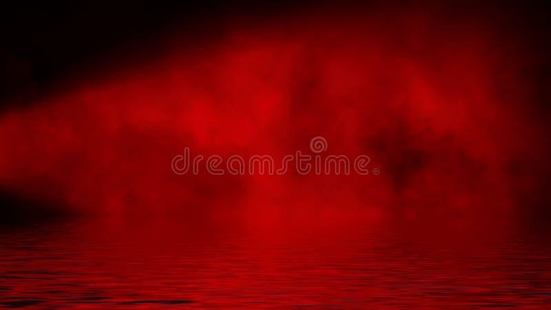 Proyector rojo del humo con la reflexi?n en agua La textura de la niebla del misterio sobrepone el fondo fotos de archivo