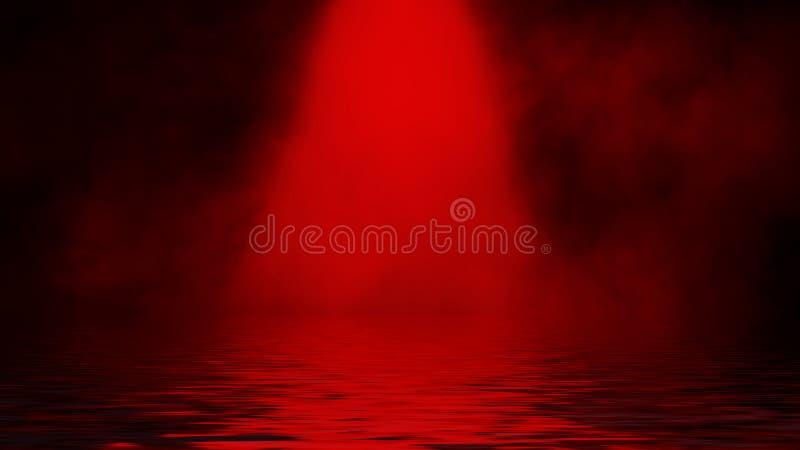 Proyector rojo del humo con la reflexi?n en agua La textura de la niebla del misterio sobrepone el fondo imagen de archivo