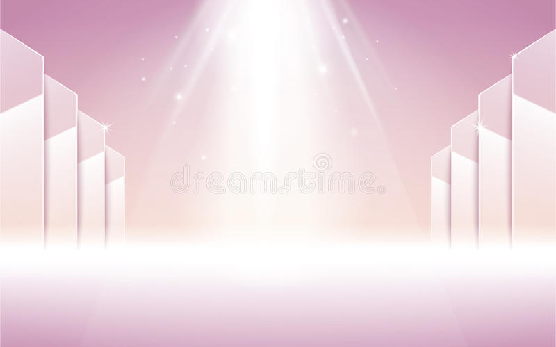 Proyector rosado de la etapa stock de ilustración