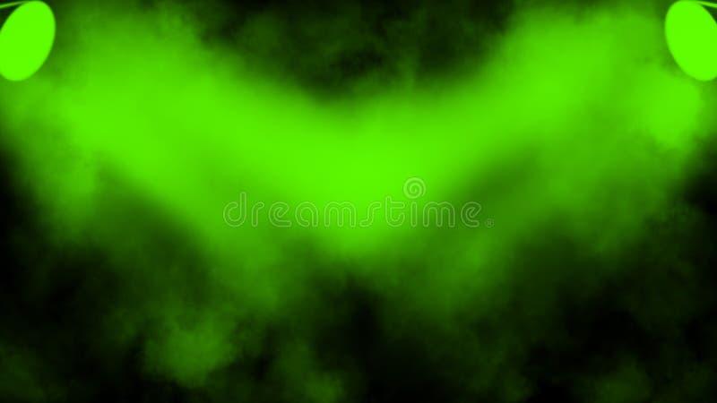 Proyector verde del estudio Etapa con humo en el piso fotografía de archivo