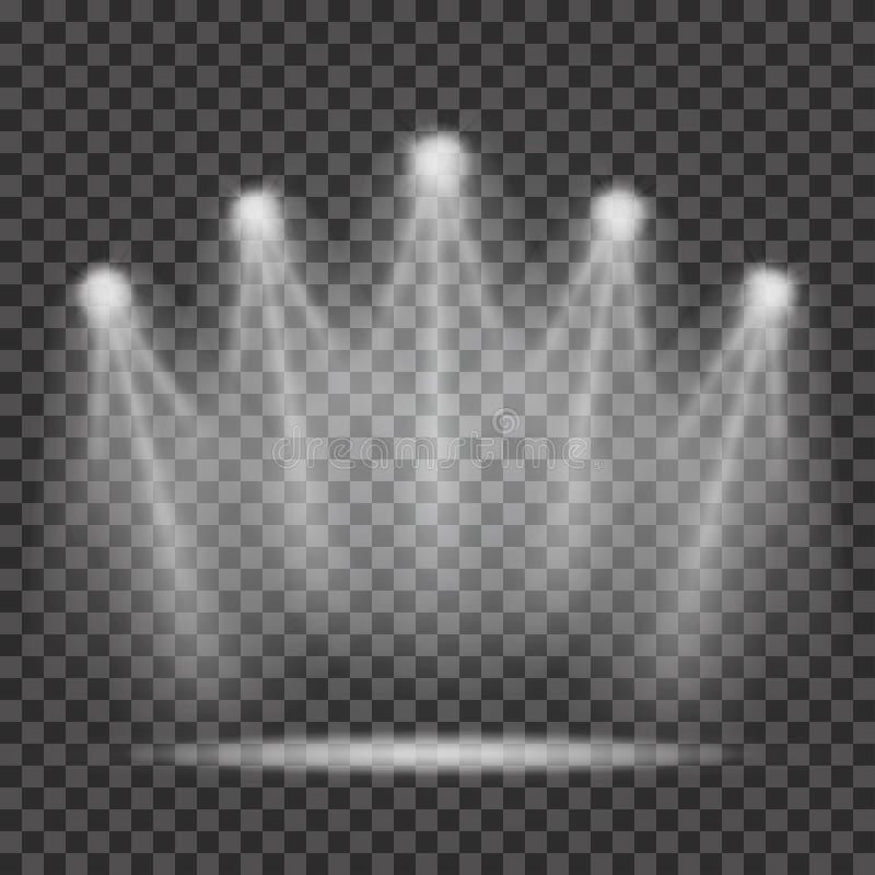 Proyectores con los haces luminosos en fondo transparente libre illustration