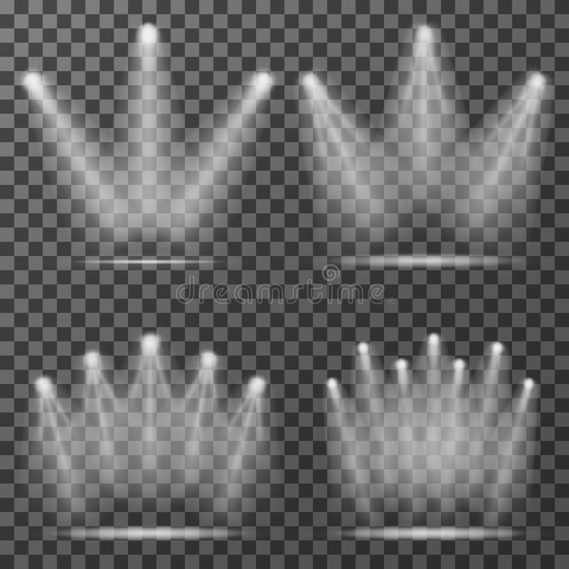 Proyectores con los haces luminosos en fondo transparente ilustración del vector