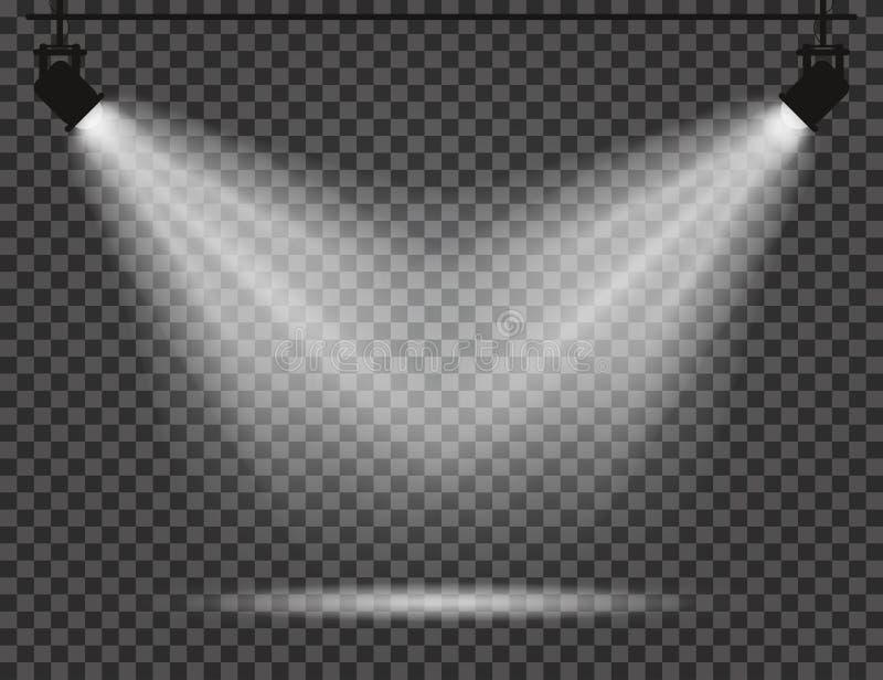 Proyectores con los haces luminosos en fondo transparente Proyectores realistas para el teatro, estudio de la foto, conciertos ilustración del vector