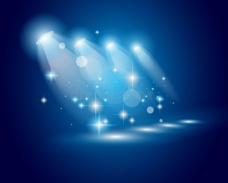 Proyectores de la demostración del teatro con las estrellas de la American National Standard de las luces libre illustration