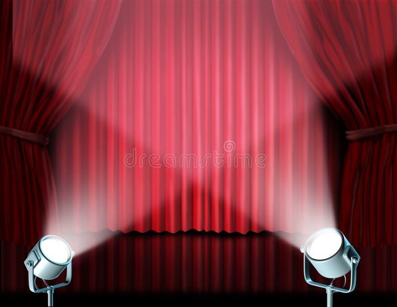 Proyectores en las cortinas rojas del cine del terciopelo stock de ilustración