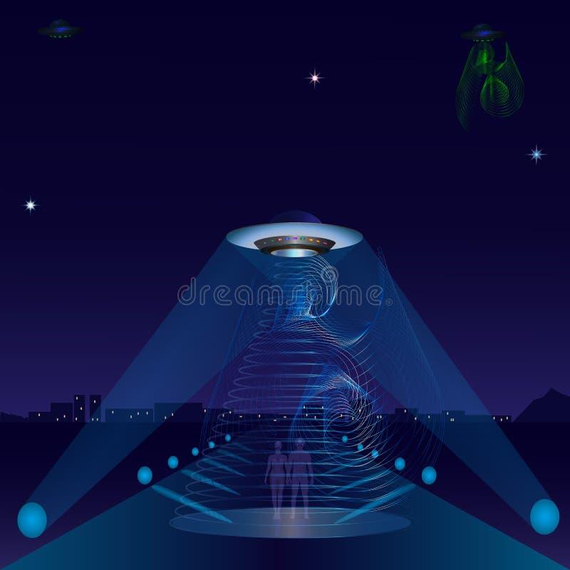 Proyectores extranjeros del camino de ciudad de la noche de la nave del UFO stock de ilustración