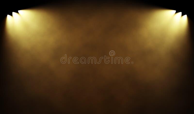 Proyectores ligeros calientes que iluminan el espacio de niebla libre illustration