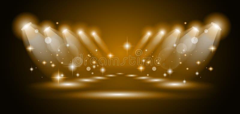 Proyectores mágicos con los rayos del oro stock de ilustración