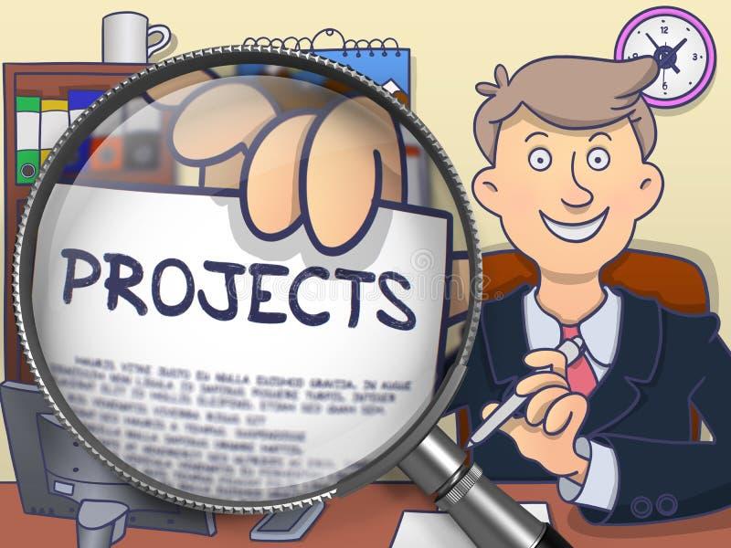 Proyectos a través de la lupa Doodle el estilo ilustración del vector
