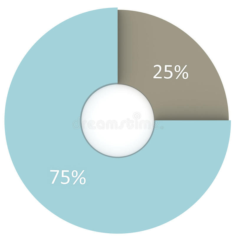 25 Prozent grau und blaues Diagramm lokalisiert auf Weiß stock abbildung