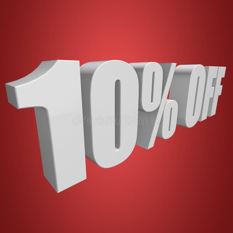 10 Prozent heruntergesetzt Buchstaben 3d auf rotem Hintergrund lizenzfreie abbildung