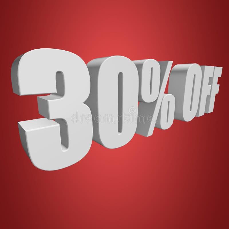 30 Prozent heruntergesetzt Buchstaben 3d auf rotem Hintergrund lizenzfreie abbildung