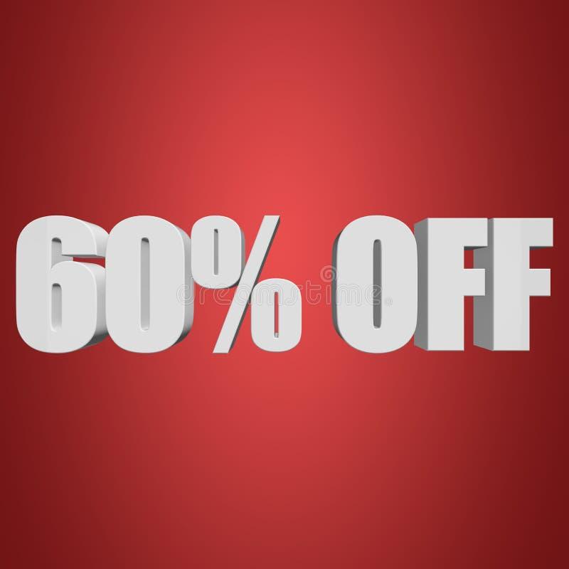 60 Prozent heruntergesetzt Buchstaben 3d auf rotem Hintergrund vektor abbildung