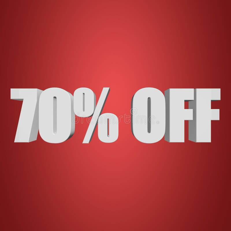 70 Prozent heruntergesetzt Buchstaben 3d auf rotem Hintergrund vektor abbildung