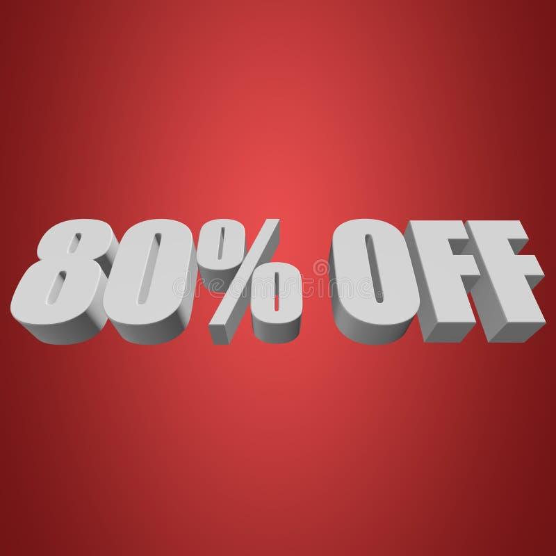 80 Prozent heruntergesetzt Buchstaben 3d auf rotem Hintergrund vektor abbildung