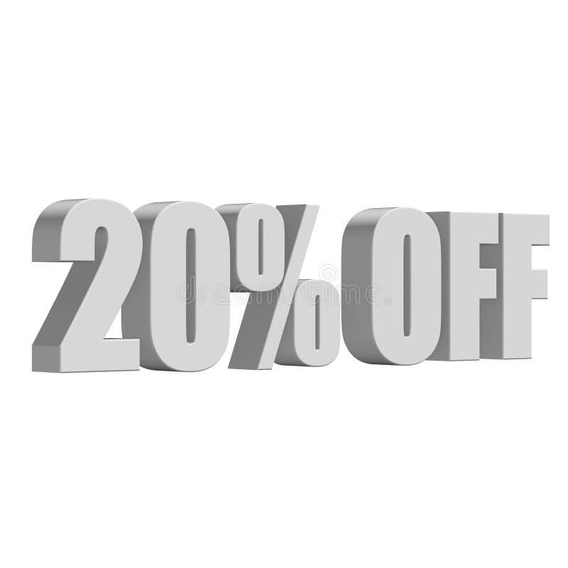 20 Prozent heruntergesetzt Buchstaben 3d auf weißem Hintergrund lizenzfreie abbildung
