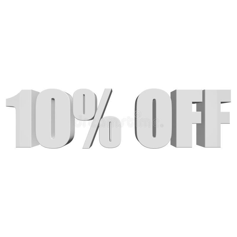 10 Prozent heruntergesetzt Buchstaben 3d auf weißem Hintergrund lizenzfreie abbildung