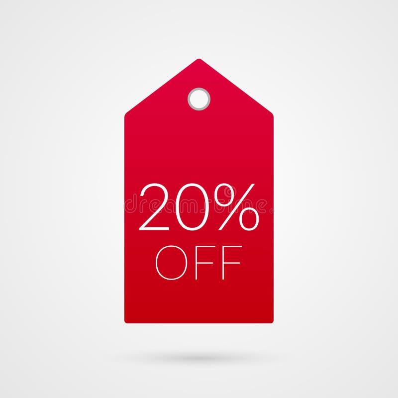20 Prozent heruntergesetzt Einkaufstagvektorikone Lokalisiertes Rabattsymbol Illustrationszeichen für Verkauf, Geschäft, Shop lizenzfreie abbildung
