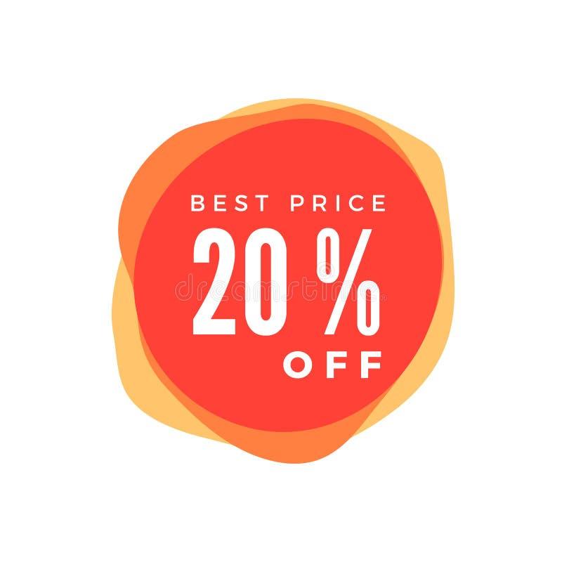 20 Prozent heruntergesetzt Rabatt-Aufkleber Verkaufs-rotes Tag lokalisiert auf weißem Hintergrund Rabattangebot-Preisschild Vekto lizenzfreie abbildung