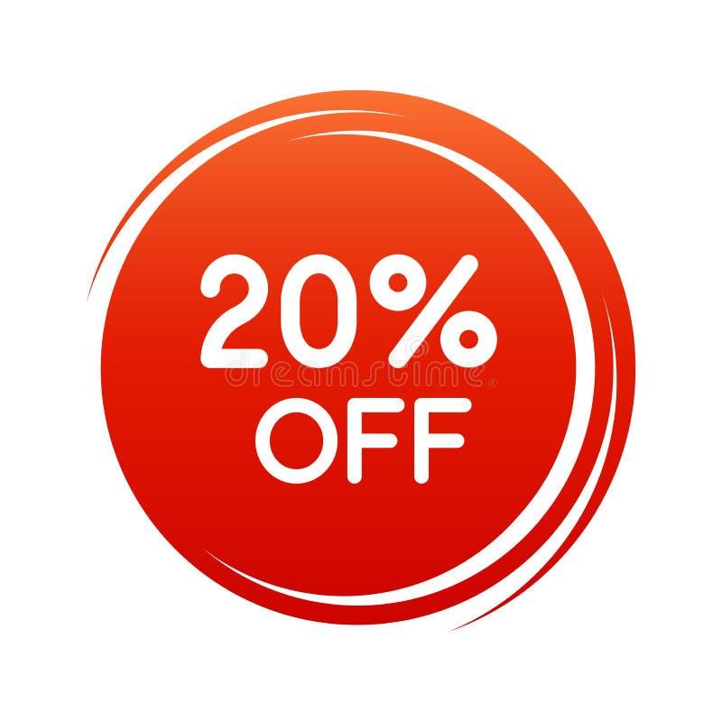 20 Prozent heruntergesetzt rote Farbe des Rabatt-Aufklebers - runder Verkaufs-Umbau lokalisierte Vektor-Illustration - Rabatt-Ang lizenzfreie abbildung