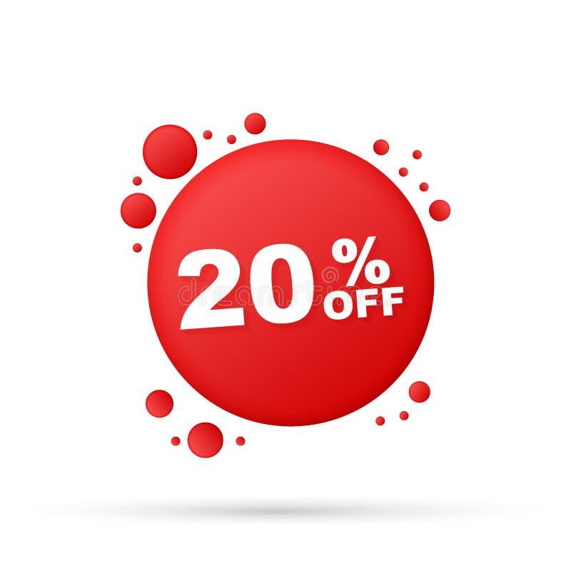 20 Prozent heruntergesetzt Verkaufs-Rabatt-Fahne Rabattangebot-Preis flache Ikone der 20-Prozent-Rabattf?rderung mit langem Schat stock abbildung