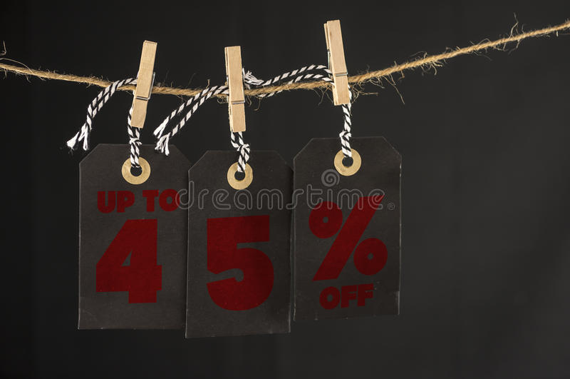 45-Prozent-Rabattaufkleber lizenzfreies stockfoto