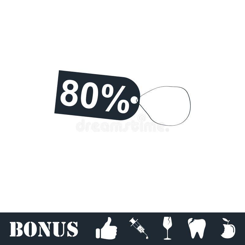 80-Prozent-Rabattikone flach stock abbildung