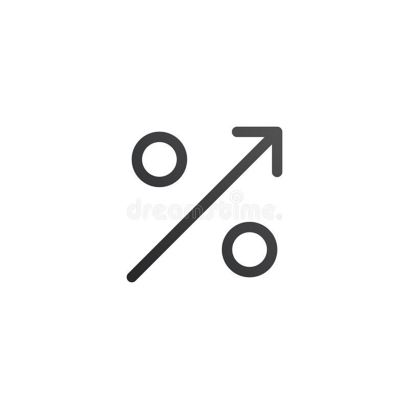 Prozente herauf Linie Ikone Prozentsatz, Pfeil aufwärts Geld und Prozentsatzsymbol in den Händen Kann für Themen wie Investition, lizenzfreie abbildung
