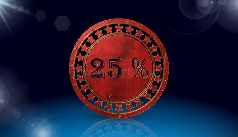 Prozentrabattikone, singen, Illustration 3D stock abbildung