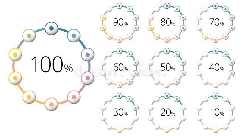 Prozentsatzkreisdiagramme mit bunten Segmenten Kreiscorp vektor abbildung