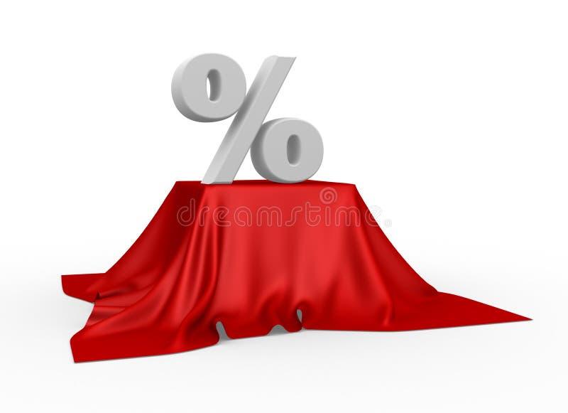 Prozentsatzreduzierungssymbol auf einer Tischdecke vektor abbildung