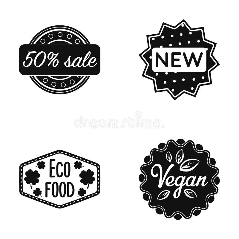 Prozentsatzverkauf, neu, eco Lebensmittel, strenger Vegetarier Aufkleber, stellte Sammlungsikonen im schwarzen Artvektorsymbolvor vektor abbildung