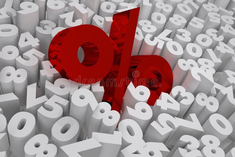 Prozentzeichen auf weißem Stellenverkauf 3d übertragen lizenzfreies stockbild