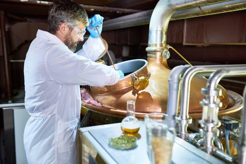 Prozess der Bier-Gärung lizenzfreie stockbilder