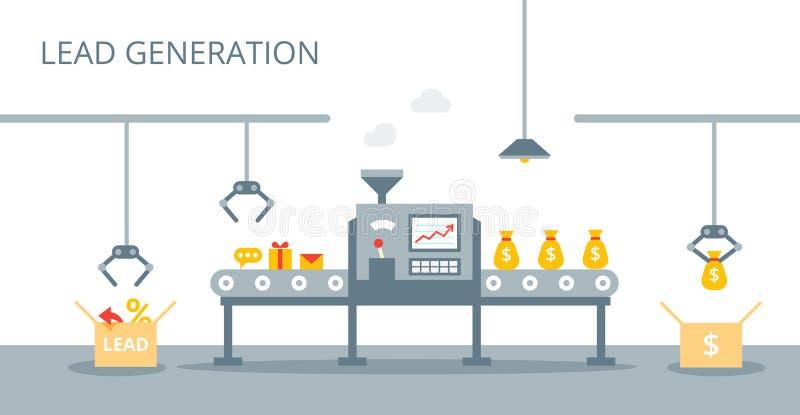 Prozess der Führungsproduktion auf dem Förderband Marketing-Konzept in der flachen Art Führungs-Generations-Konzept lizenzfreie abbildung