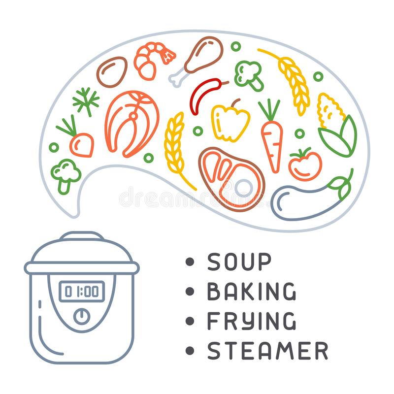 Prozess des Kochens von verschiedenen Produkten in einem langsamen Kocher stock abbildung