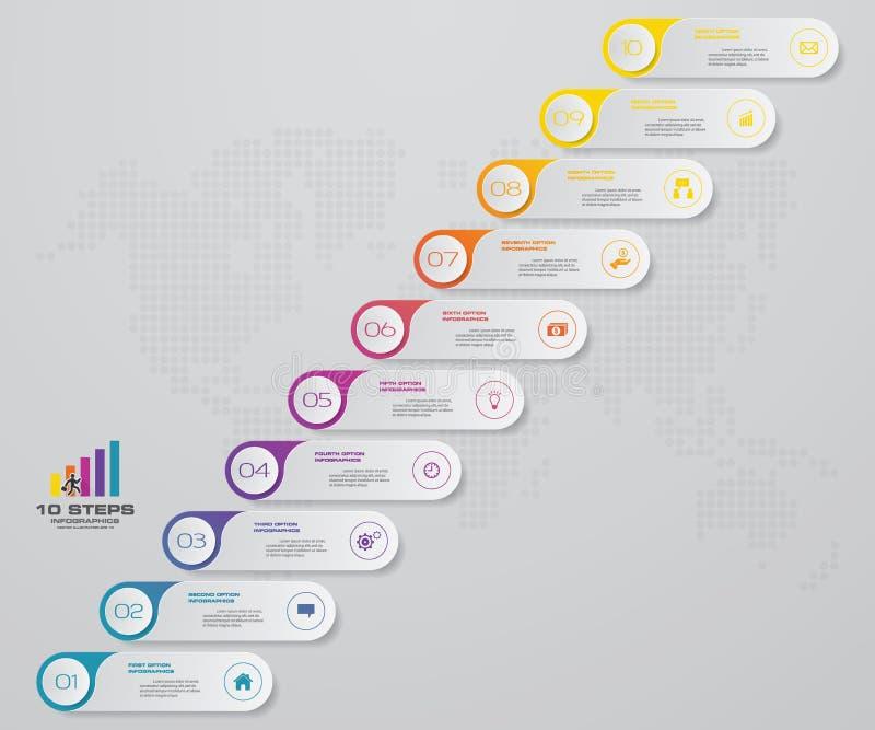 Prozess mit 10 Schritten Simple&Editable-Zusammenfassungsgestaltungselement lizenzfreie abbildung