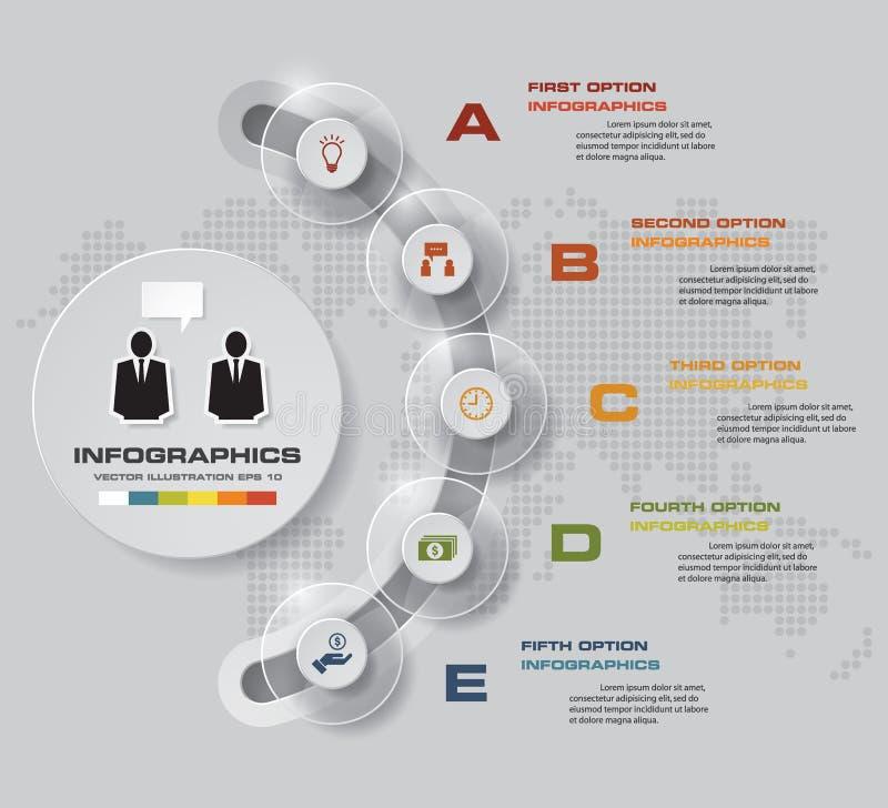 Prozess mit 5 Schritten Simple&Editable-Zusammenfassungsgestaltungselement Vektor stock abbildung