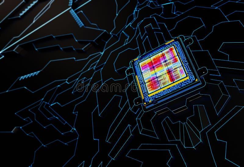 Prozessor-abstrakter Hintergrund Getrennt auf Wei? stockbild