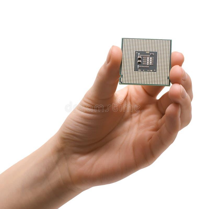 Prozessor in der Hand lizenzfreies stockfoto