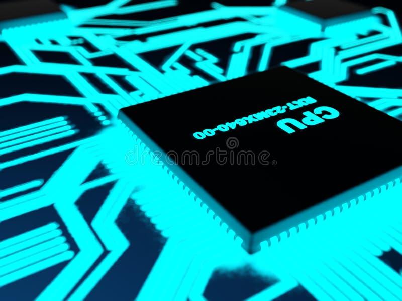 Prozessor mit glühenden blauen Pfaden vektor abbildung