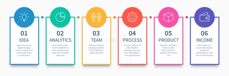 Prozessspalten infographic Geschäftsschrittdiagramm, Arbeitsflussplandiagramm und Weise von Idee zu Einkommensvektor vektor abbildung