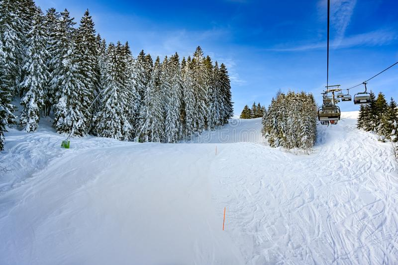 Prepared slope with fresh snow on firs on sunny winter day, Germany royalty free stock photos