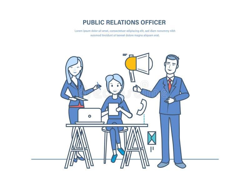 PRtjänstemän Kommunikation marknadsföring, pr som klarar av åsikter för folk` s royaltyfri illustrationer