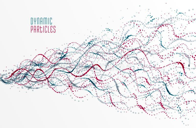 Prucken bakgrund för vektor för partikelsamling flödande, design för bio tema för livsformer mikroskopisk, dynamiska prickbestånd vektor illustrationer
