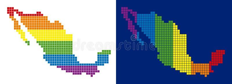 Prucken Mexico för spektrum PIXEL översikt stock illustrationer
