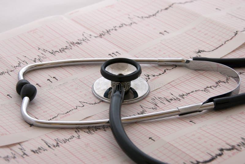Prueba cardiológica con el estetoscopio foto de archivo